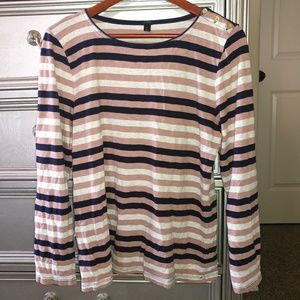 J. Crew Tops - J Crew Striped Long Sleeve Top Size XL